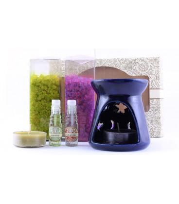 Zestaw do aromaterapii - kominek, olejek o zapachu Angielskiej Lawendy i świeczka, Song of India