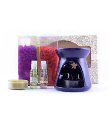 """Zestaw do aromaterapii - kominek, olejek o zapachu Afrodyzji """"Love"""" i świeczka, Song of India"""