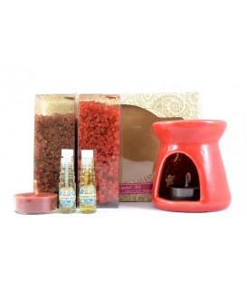 Zestaw do aromaterapii Świąteczny - kominek, 2 olejki eteryczne, 2 świeczki, Song of India, Song of India