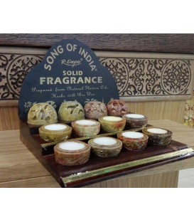 PIĘKNY ZESTAW 8 zapachów w ręcznie rzeźbionych kamieniach na drewnianej podstawce Song of India