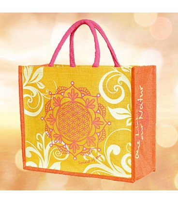 "Jute bag ""Flower of Life"" by Spirit of OM, orange (orange / Regular)"