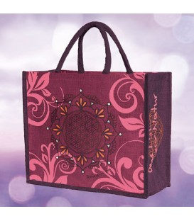 "Jute bag ""Flower of Life"" by Spirit of OM, Aubergine (aubergine / Regular)"