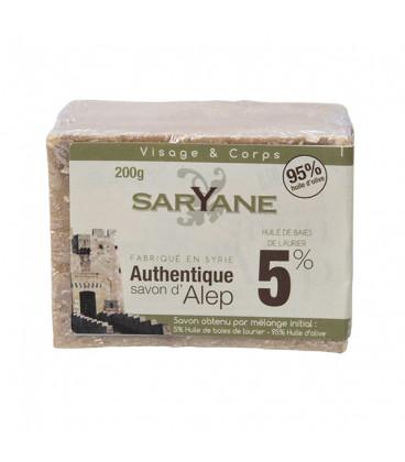 Tradycyjne mydło Aleppo 200g - 5% oleju laurowego, 95% oliwy z oliwek Saryane