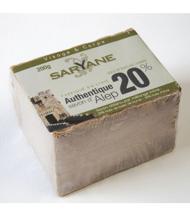 Traditional Aleppo soap 200g - 20 % Laurel OIl , 80 % Olive Oil , under transparent film - Saryane label 2 x boxes - available
