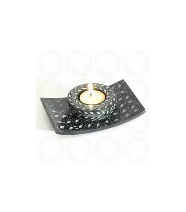 "Stone Black Candle Burner 5.5""X3.5 STCB3179"