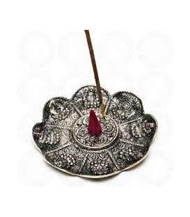 White Metal Incense Burner Plate 4.5 IBSL41