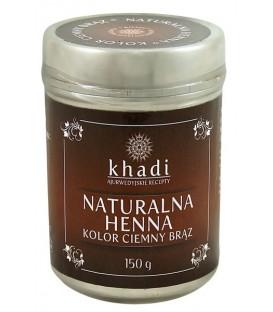 Naturalna Henna Ciemny Brąz 150g Khadi (19,30zł/100g + czepek i rękawiczki)