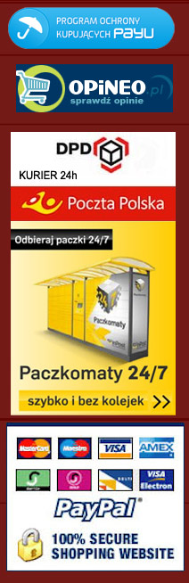 payment logos: paypal, payu, dpd, poczta polska, paczkomaty